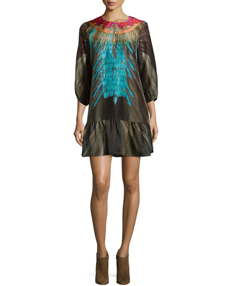 Figue Edie Embellished Flounce Dress, Multi Colors