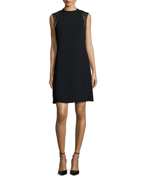 Carmen Marc Valvo Sleeveless Beaded Cocktail Dress, Black