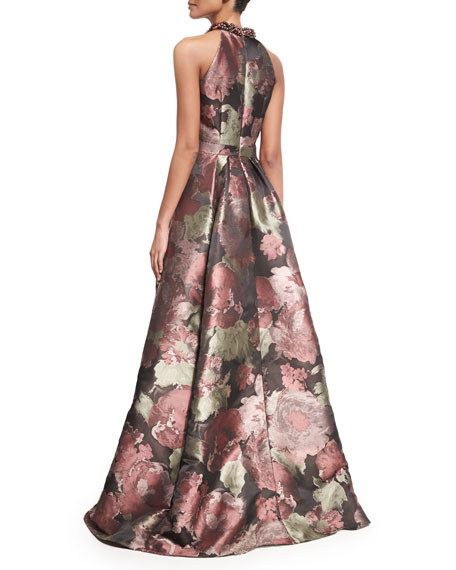 Sleeveless Crisscross Beaded-Neck Floral Ball Gown