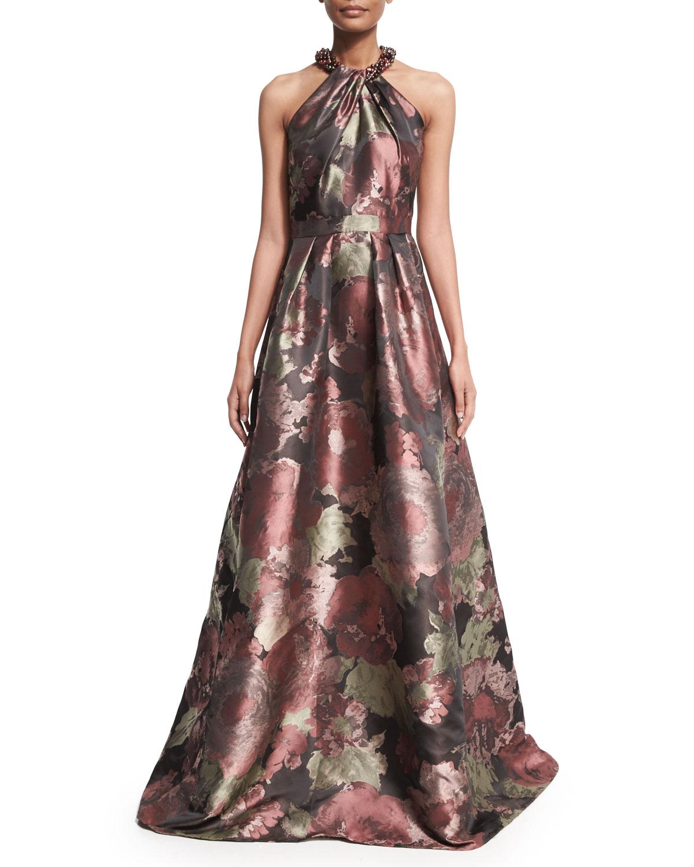 Carmen Marc Valvo Sleeveless Crisscross Beaded-Neck Floral Ball Gown ...