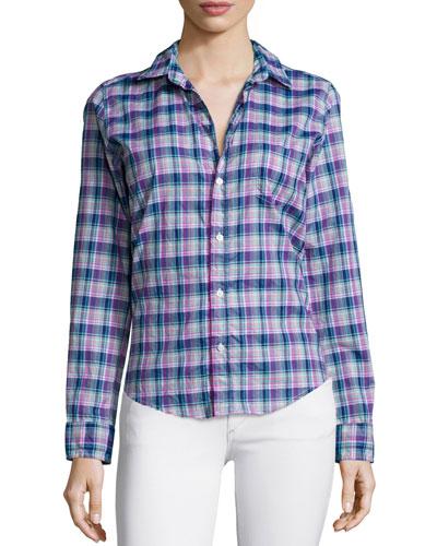 Barry Long-Sleeve Plaid Poplin Shirt, Navy/Purple/Green
