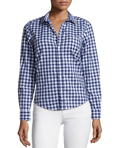 Barry Long-Sleeve Gingham Poplin Shirt, Navy
