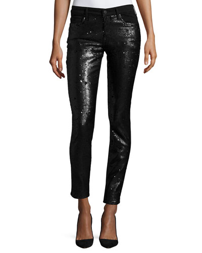 Peace Mid-Rise Skinny Sequined Jeans, Black