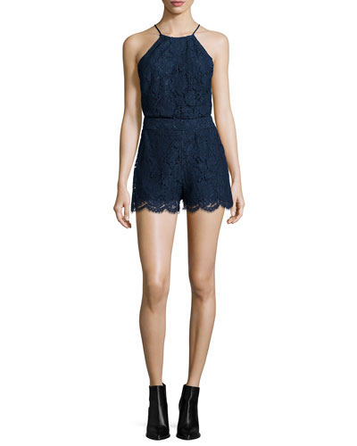 Naira Sleeveless Lace Romper, Navy