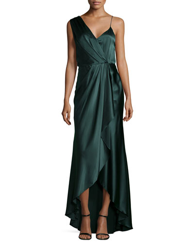 Charmeuse Sleeveless V-Neck Gown, Emerald