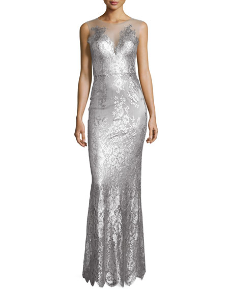 Catherine Deane Chloe Sleeveless Metallic Lace Gown