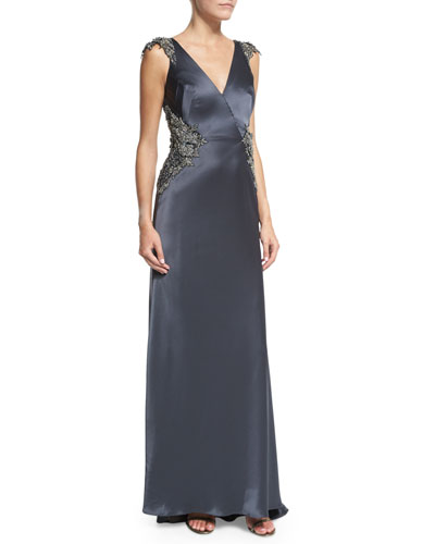 Claire Sleeveless Satin Gown with Beading