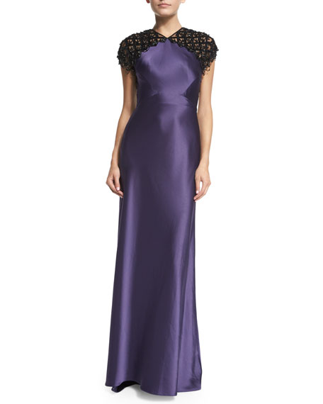Clarissa Cap-Sleeve Beaded Satin Column Gown
