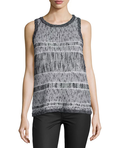 Kallie Round-Neck Sweater Tank, Black
