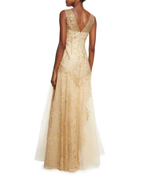 Sleeveless Lace-Bodice Tulle-Skirt Gown