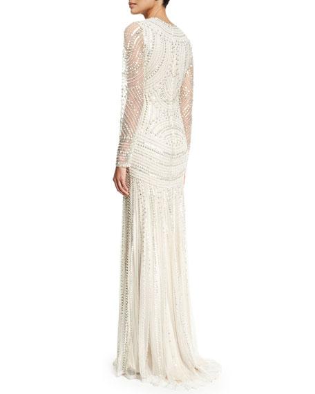 Long-Sleeve Metallic Beaded Gown