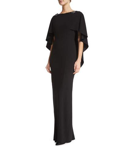 Hillary Column Gown with Cape