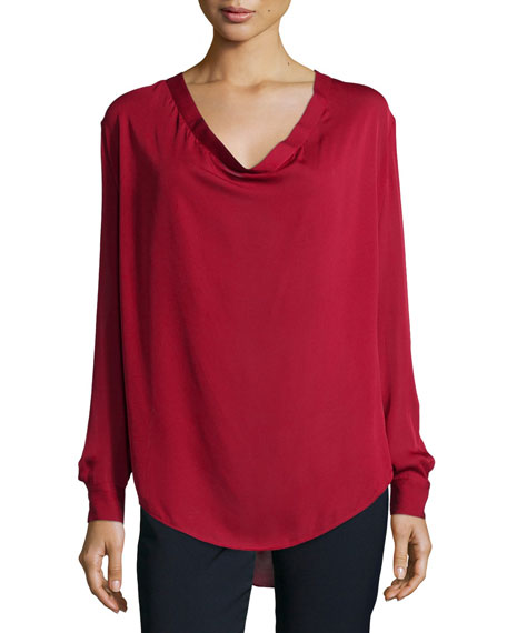 Haute Hippie Return of the Cowl Long-Sleeve Blouse, Bordeaux