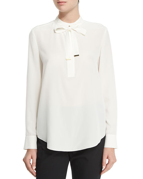 Magaschoni Tie-Neck Silk Blouse