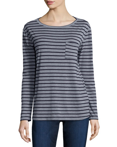 Long-Sleeve Striped Tee W/ Pocket