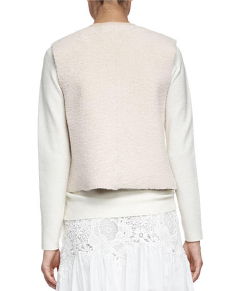 See by Chloe Shearling Fur and Leather Vest, Off White