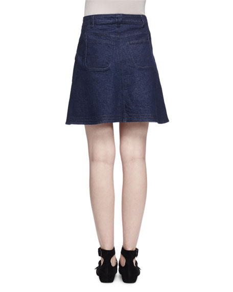 Embroidered Denim Skirt, Indigo