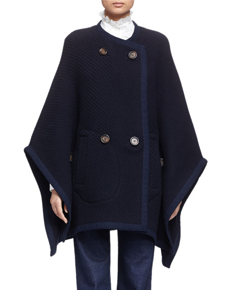 See by Chloe Textured Double-Breasted Cape, Navy