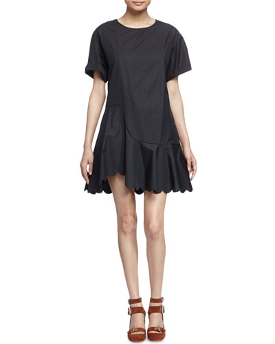 Scalloped Cotton Poplin Dress, Black