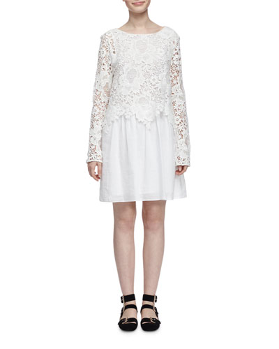 Floral Lace and Voile Long-Sleeve Dress