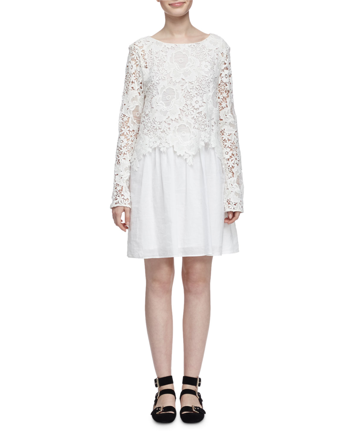 83aabda4f6cde5 See by Chloe Floral Lace and Voile Long-Sleeve Dress