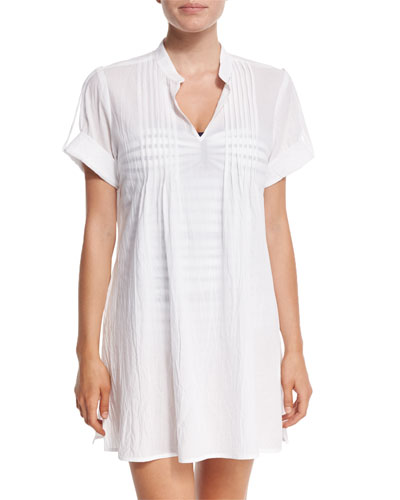 Mandarin Collar Short-Sleeve Tunic Coverup, White