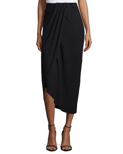 Pleated & Draped Jersey Midi Skirt