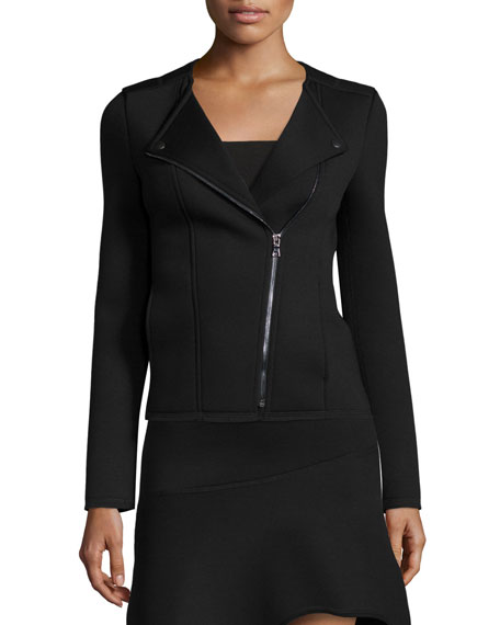 Three Dots Moto Jacket with Asymmetric Zip Front