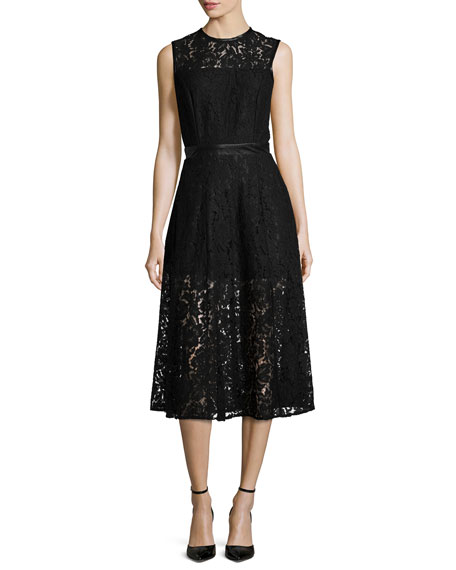 Karina Grimaldi Coco Sleeveless Lace Dress, Black