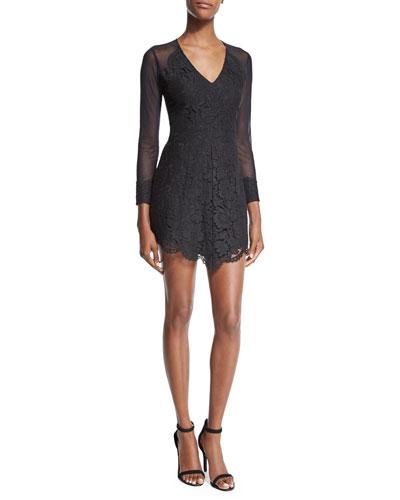 Olivia Long-Sleeve Lace Mini Dress, Black