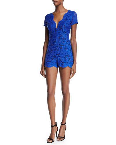 Marina Short-Sleeve Lace Romper, Blue
