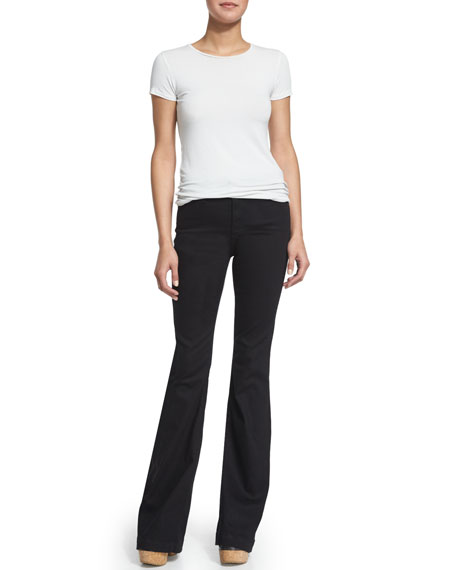 Janis High-Waist Super-Flare Jeans, Black