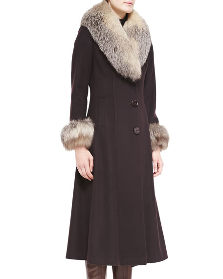 Belle Fare Maxi Cashmere Coat w/ Fur Trim