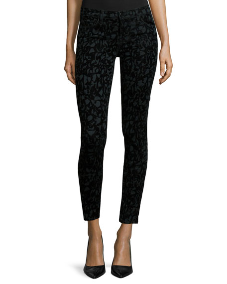 J Brand Mid-Rise Super Skinny Jeans, Olive Brocade