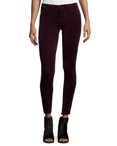 Mid-Rise Super Skinny Pants, Burgundy