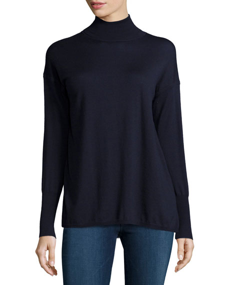 J Brand Clinton Long-Sleeve Combo Sweater, Navy