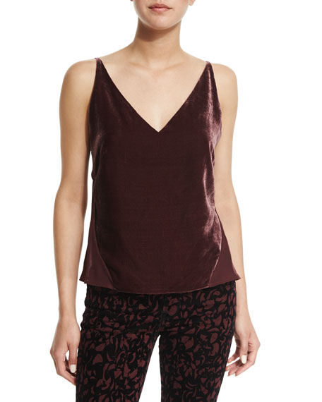 J Brand Jeans Lucy V-Neck Camisole, Deep Mulberry