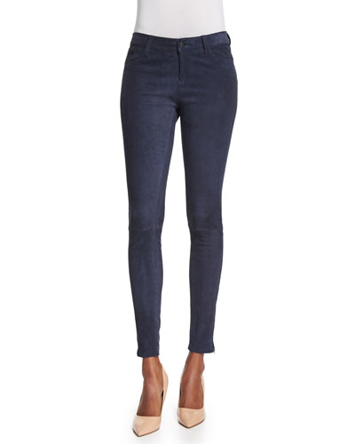 Suede Super-Skinny Pants, Twilight Blue