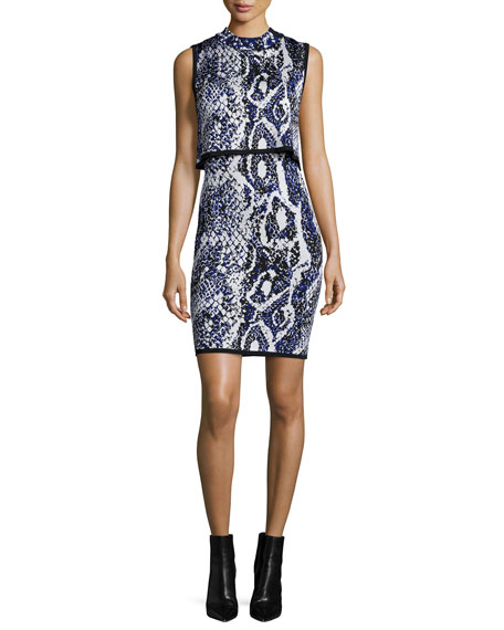 French Connection Spotlight Sleeveless Snake-Print Dress, Monarch Blue
