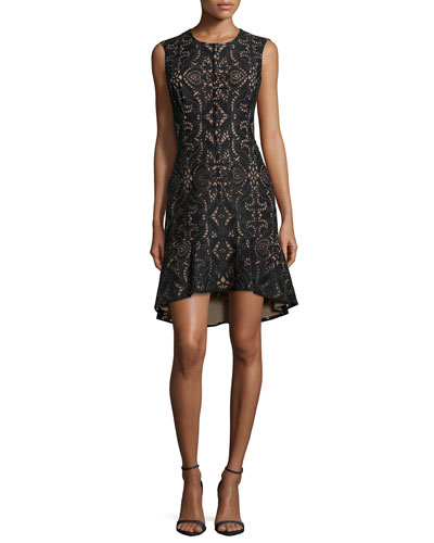 Chrystal Sleeveless Damask Lace Cocktail Dress