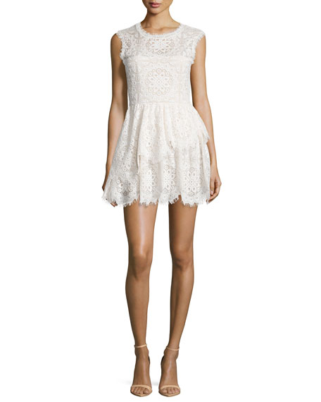 Charlee Sleeveless Tiered Lace Dress