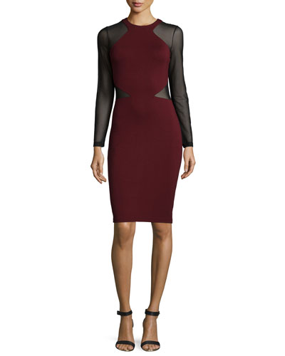 Viven Paneled Jersey Dress, Biker Berry/Black