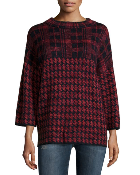 French Connection 3/4-Sleeve Dogstooth-Check Sweater, Red