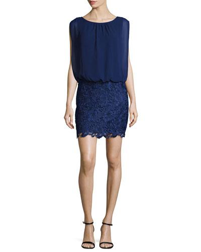 Lace/Chiffon Blouson Combo Cocktail Dress