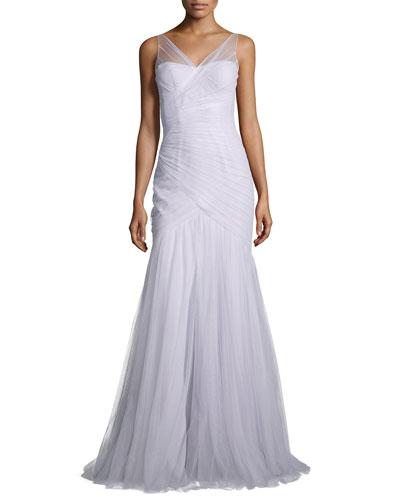 Sleeveless Illusion Tulle Gown