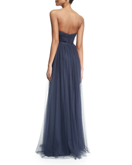 Strapless Sweetheart Pleated Gown
