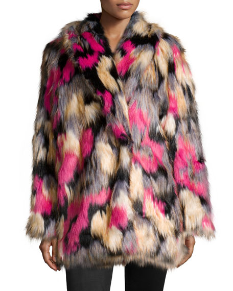 French Connection Stardust Long-Sleeve Faux-Fur Coat, Multi Colors