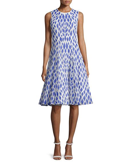 Rachel GilbertKiko Sleeveless Embroidered Dress, Electric/Ivory