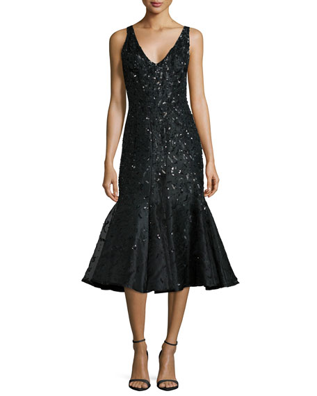 Rachel Gilbert Acacia Embellished Fluted Dress, Black