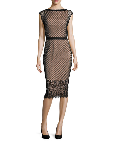Rachel Gilbert Savannah Cap-Sleeve Lace Dress, Black/Nude